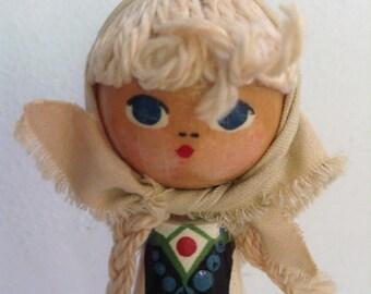Vintage Swedish Wood Doll Toy Figure. 1960's Vintage Modernist. Mod, Mid century, Danish Modern, Eames, era.
