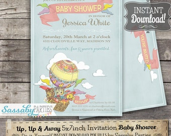 Up, Up & Away Baby Shower Invitation - INSTANT DOWNLOAD -  Editable Printable cute hot air balloon Baby Shower Invite
