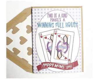 Winning Full House - Mother's Day Card, Mom, Gay with Kids, Lesbian, LGBT, for her, wife, girlfriend, same sex