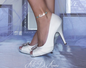 "Something Blue ""Love"" Rhinestone Chain Wedding Anklet for Bride"