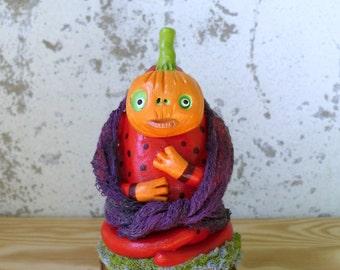 Polymer Clay Art Doll - Mixed Media Sculpture - Whimsical Monster - Pumpkin Figurine - Todd Pumpkins - Halloween Art Doll - Pumpkin Monster