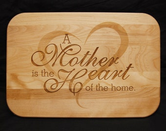 Mother, Home, Heart, Cutting Board, Wood cutting board, Personalized