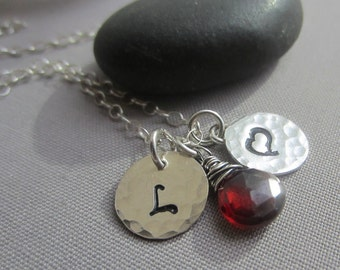 SALE 20% OFF/ Charm Necklace/ Personalized Necklace/ Charms and Monograms/ Personalized Hammered Charms/ Gemstone charms.