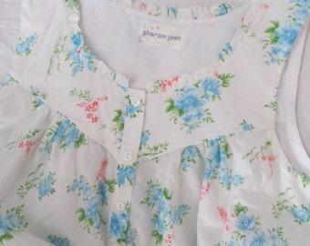 "Womens Fine Craft Summer Lounger-Nightgown-Sleepwear-Day Dress-Cottage Floral-USA Cotton Lawn-XXL (44"" bust)"