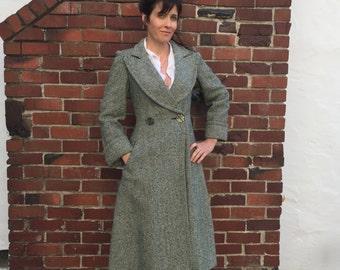 VTG H. Lans Paris Albert Poljac Wool Princess Coat tweed Herringbone Sz 4 Swing Bamberger's maxi multi color green Trench