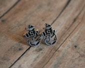 US Navy Cufflinks Anchor Cuff Links - made with metal emblems