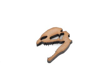 2 DINOSAUR HEAD (DILOPHOSAURUS) Wood Cut Out, Laser Cut Cabochon, Laser Engraved Wood, Brooch Supplies, Sustainable Wood Supplies, lcw0077