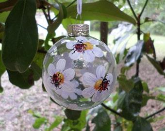 ladybug hand painted Christmas ornament  223