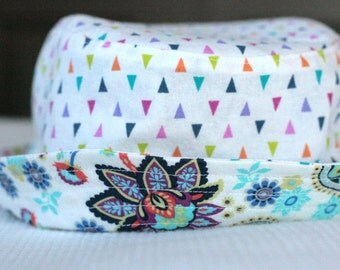girl's bucket hat, mod paisley, reversible, 5 sizes