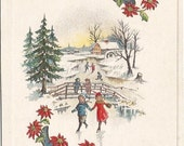 Couple Ice Skating on Frozen River in Country Winter Scene Vintage Postcard Christmas Poinsettia