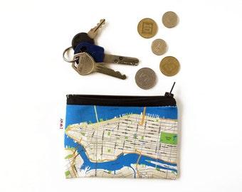 New York map zipper pouch, vegan wallet, Manhattan map wallet, money clip, special gift, coin purse, Women wallets, Mens wallet