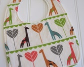CLEARANCE/SWEET NATURALS/Organic Line/Baby Bib/Infant--18 mo./Giraffe Love/Organic Fleece Back