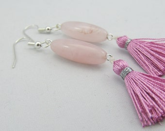 Ready to ship Rose quartz silver plated tassel earrings - Mala earrings - Pink tassel earrings