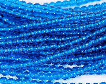 Capri Blue 4mm round czech beads  - 100 Czech Beads