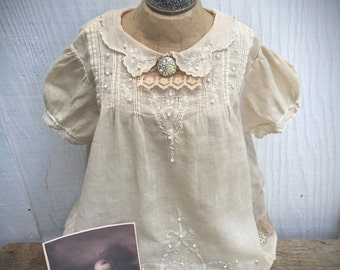 Timeless Tweeds Vintage 2 pc. Baby Dress - Distressed Upcycled Baby Dress - Refashioned Dress - Baby Gown - Dedication - Heirloom Gifts