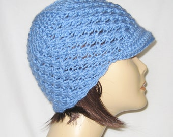 beanie with brim,newsboy hat,hat with brim,lite blue,made to fit teens and adults 21-23""