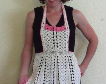 Vintage Crochet Full Apron 1950s White Pink Stripe Cotton Lace Crocheted