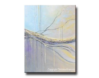 ORIGINAL Large Art Abstract Painting Minimalist Wall Art Home Decor Acrylic Painting Light Blue Gold Grey Coastal READY to SHIP - Christine