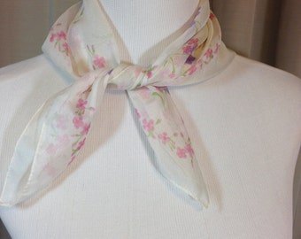 White Sheer Scarf with Pink and Purple Flowers by Kathie Lee Made in Italy Washable Polyester 20 Inches by 20.5 Inches