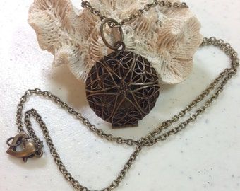 Antique Brass Locket 1.25 Inches Long on 22 Inch Antique Brass Chain Photo Locket or Perfume Locket Previously 25 Dollars ON SALE