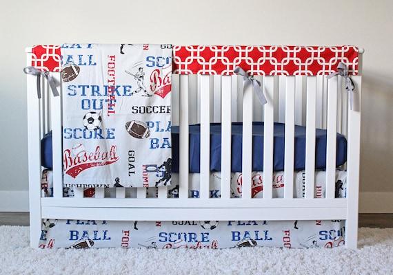 sports crib bedding soccer football baseball bedding set. Black Bedroom Furniture Sets. Home Design Ideas