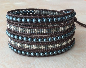Blue Swarovski Pearls, Leather Wrap Bracelet, Seed Beads, Free Shipping, 5x Wrap Bracelet, Boho Chic, Brown Leather Bracelet