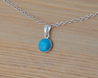 Turquoise pendant and silver chain handmade using Sterling Silver and 8 mm Turquoise gemstone, lightweight and stylish for comfort. gifts
