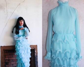 Vintage 60s Tiered Ruffle Dress, 1960s Party Dress, Chiffon, Pastel Blue, Prom, Miss Elliette