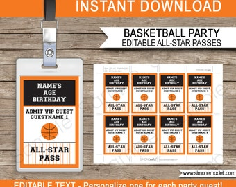Basketball Party All Star Pass Printable Insert - INSTANT DOWNLOAD with EDITABLE text - pdf template - type your own text in Adobe Reader