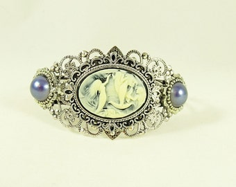 Silver Cameo Cuff Bracelet,   Mermaid Cameo With Pearls Cuff Bracelet Womens Gift Handmade