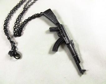 Pendant Necklace, Rifle AK47 Large Gun Metal Mens Accessories