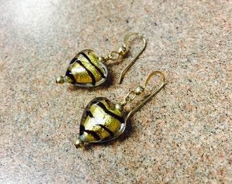 Heart of Gold Blown Glass Earrings
