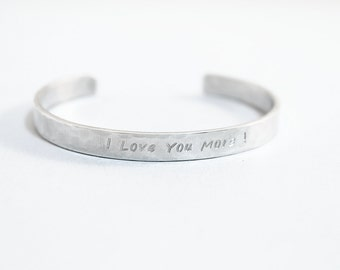 I love you more bracelet personalized bangle sterling silver engraved bracelet thin cuff bracelet stamped