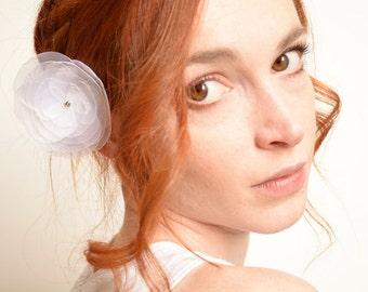 Bridal white flower hair clip - peony