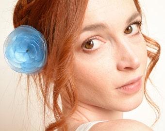 Light blue peony flower hair clip - peony