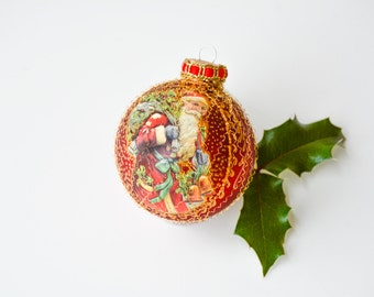 Santa Claus Christmas ornament, glass ball ornament ,hand painted glass bauble, saint nicholas, red
