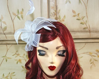 White Fascinator Headband - Kentucky Derby Fascinator - Bridal Fascinate Headband - Wedding Tea Party Hat - Wedding Fascinator