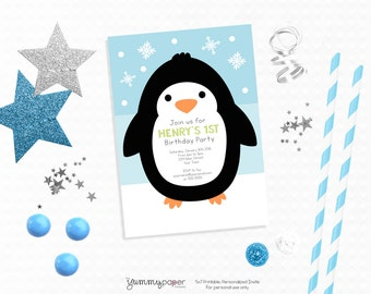 Personalized Printable Penguin Invitation with Matching Back - Personalized Printable Invite for 1st Birthdays or Children's Parties
