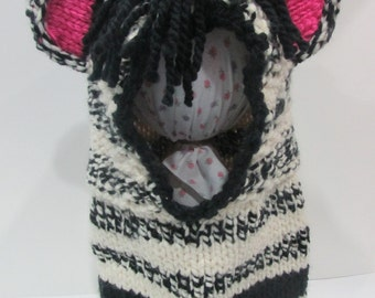 Zebra Hand Knit Cowl with cutest ears :) Halloween costume