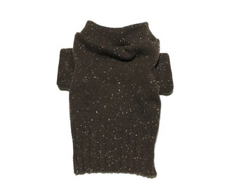 Designer Dog Sweater, X Small Warm Brown with White Speckles, Handmade Pet Apparel , Boy Dog Clothes 0325
