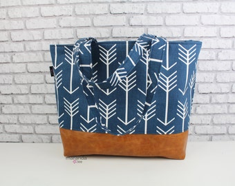 Lulu Extra Large Tote Diaper Bag Navy Arrows and PU Leather with U CHOOSE Lining Color- Archer Fletcher 7 pockets Side Rings