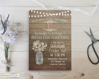 mason jar wedding invitations  etsy, Wedding invitations