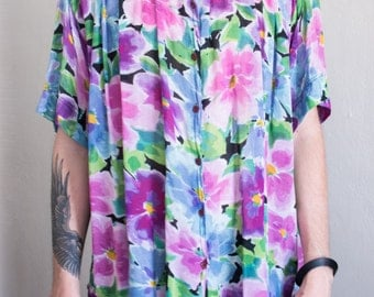 oversized gauze floral top - 3X