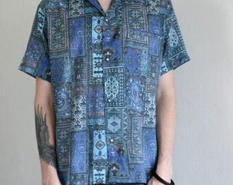 ethnic rug collage shirt - L