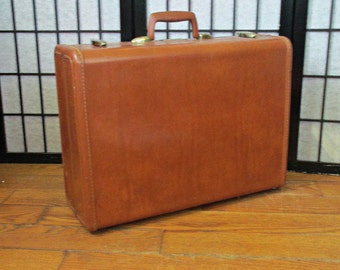Vintage 1950s 1960s Samsonite Large Suitcase Train Case Mahogany Brown Medium Luggage With Divider Valise Travel