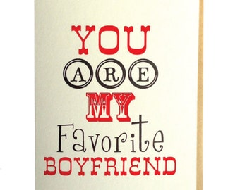 Boyfriend greeting card, boyfriend card, favorite boyfriend, original, typography card