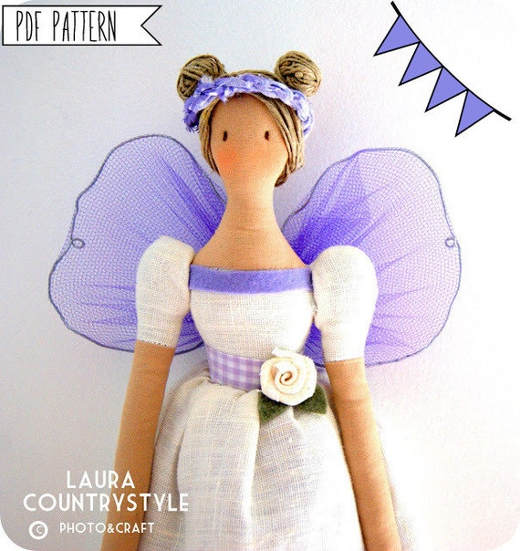 Pdf sewing pattern Fairy Stuffed doll- Fairy toy pattern FREE SHIPPING