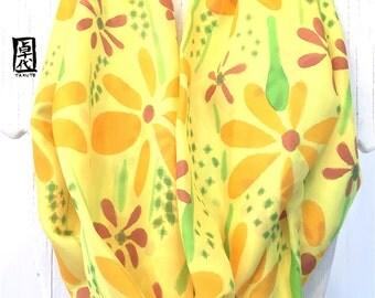 Yellow Circle Scarf, Eternity Scarf, Boho Bohemian Scarf, Skinny Scarf, Handpainted Scarf, Sunny Yellow Wildflowers Scarf, Takuyo, 7x72 inch