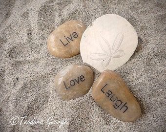 Live Love Laugh  Photography, Beach Photography, Ocean Photography, Starfish Photography, Sand Photo, Stone Photo, Rock Photo