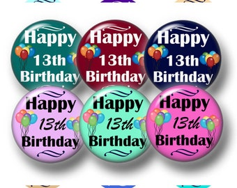 13th, Birthday, Bottle Cap Images, Digital Collage Sheet, 1 Inch Circle, Instant Download, Boys, Girls,Cupcake Toppers, Magnets, Jewelry